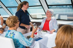 Eating lunch on a Darwin cruise
